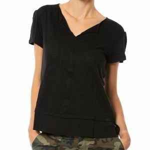 SANCTUARY Uptown Black Notched V-Neck Tee Shirt